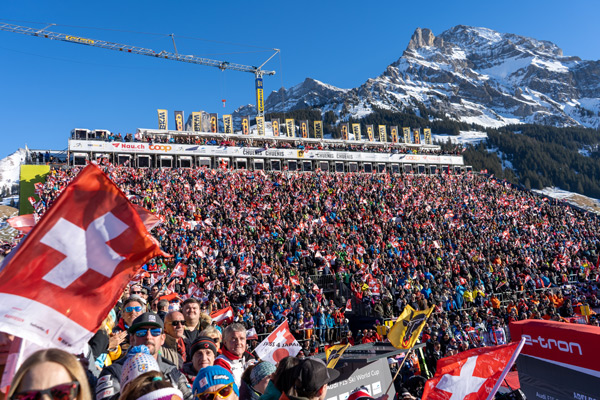 The spectator stand at the World Cup in Adelboden